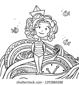 Vector illustration wit cute cartoon summer girl in paper ship hat on abstract background. Coloring art