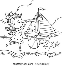 Vector illustration wit cute cartoon summer girl in paper ship hat with spyglass and dress like watermelon. Summer sea beach background. Coloring art