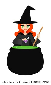 Vector illustration of a witch stirring a bubbling green potion