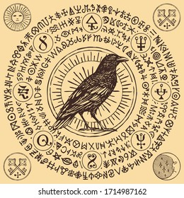 Vector illustration with witchcraft raven or wise black raven in vintage style. Handwritten meaningless signs, magic runes, occult symbols written in a circle