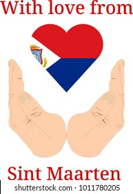 """Vector illustration """"With love from Sint Maarten"""". Flag of Sint Maarten  in the shape of a heart and two hands"""