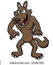 Vector illustration of Wolf cartoon