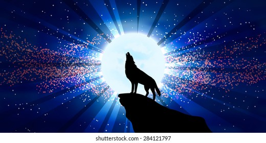 vector illustration wolf howling moon 260nw 284121797