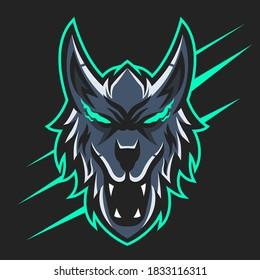 Vector illustration of wolf mascot logo design. wolf mascot logo illustration.