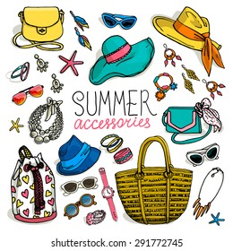 Vector illustration of woman accessories set. Hand-drown objects sketch. Summer fashion collection.