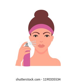 Vector illustration of woman is applying facial spray flat style illustration