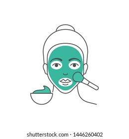 Vector illustration of woman is applying facial mask outline style illustration