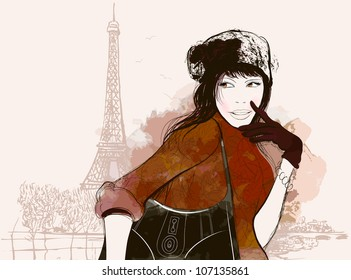 vector illustration of a woman in autumn