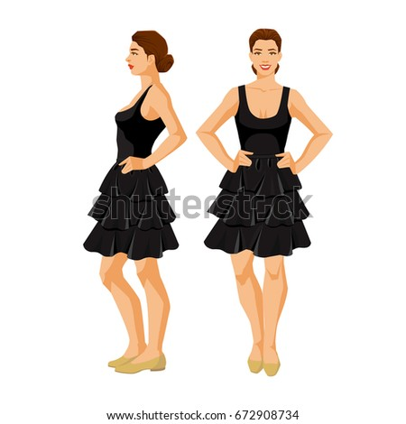 91cd4557086 Vector Illustration Woman Black Skirt Top Stock Vector (Royalty Free ...