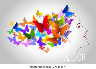 vector illustration of a woman of butterflies in her hair