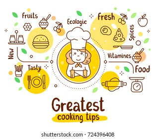 Vector illustration of a woman chief cook with food icons. Thin line art design with a cook in a chef hat for web, site, banner, menu, poster. Creative cooking concept with text on white background