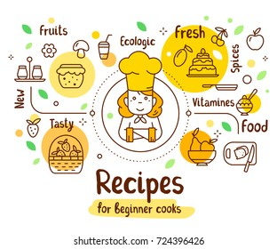Vector illustration of a woman chief cook in a chef hat with food icons. Thin line art design with a cook for web, banner, menu, recipe book. Creative cooking concept with text on white background