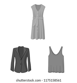 Vector illustration of woman and clothing icon. Set of woman and wear vector icon for stock.