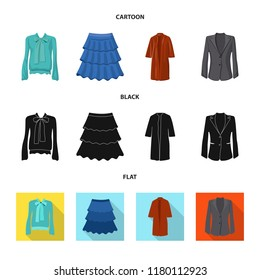 Vector illustration of woman and clothing icon. Set of woman and wear stock vector illustration.