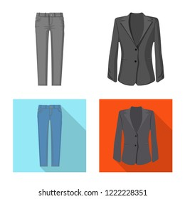 Vector illustration of woman and clothing symbol. Collection of woman and wear vector icon for stock.