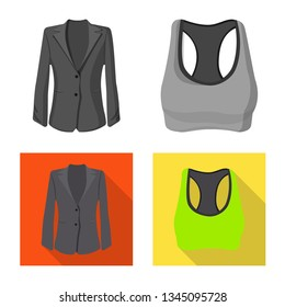 Vector illustration of woman and clothing symbol. Collection of woman and wear stock vector illustration.