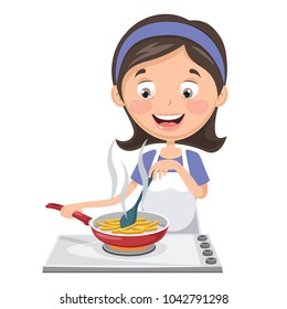 Vector Illustration Of Woman Cooking Potatoes