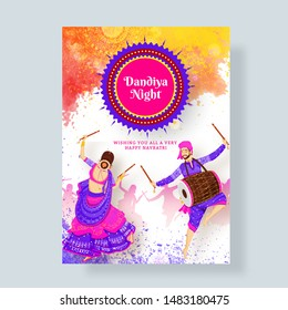 Vector illustration of woman dancing with dandiya stick and drummer man (Dholak) for Dandiya Night invitation card design with text message Wishing You All A Very Happy Navratri.