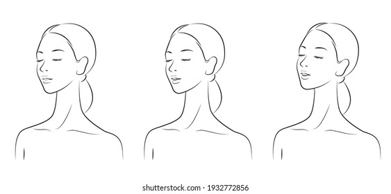 Vector illustration of a woman doing skin care