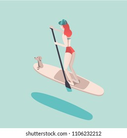 Vector illustration of woman doing SUP stand up paddle boarding with her dog