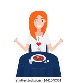 Vector Illustration of Woman is Eating Eye Steak Round. Girl has T-Shirt of Meat Lover. Healthy Nutrition Concept of Carnivore Diet. I Love Meat. Concept of Meat Lover is Following in Carnivore Diet