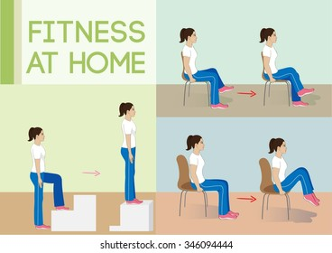 Vector illustration woman exercise.Fitness at home.