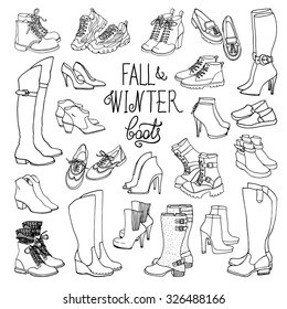 Vector illustration of woman fall and winter shoes, boots set. Hand-drown footwear illustrations. Black and white fashion collection.