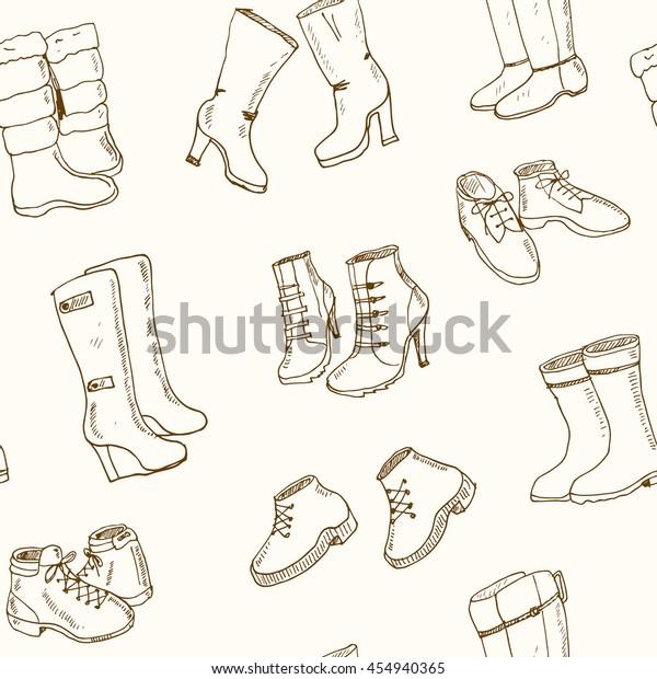 Shoes women high heels sketch set Buy this stock vector