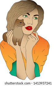 Vector illustration of a woman with a ferret or mink in her hand
