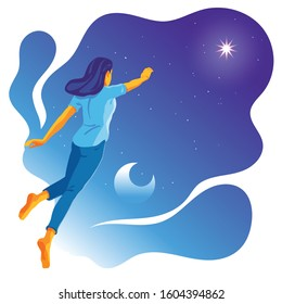 Vector illustration of a woman flying in the night sky, trying to reach or catch the brightest star. Concept design of realizing dreams, pursuing higher achievement in life, striving for success.