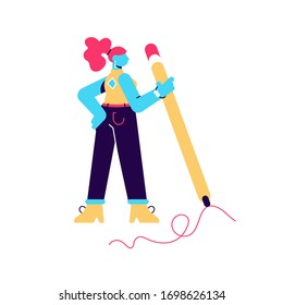 Vector illustration of woman hold big pencil and drawing. Hand writing prosess. Creative girl. Human character on white isolated background.Flat style modern design for web page, social media, poster