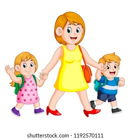 vector illustration of a woman holding her children hands for accompany them to school