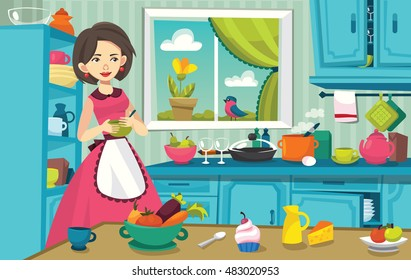 vector illustration of a woman in a kitchen