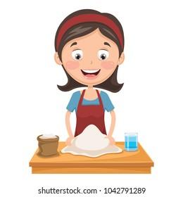 Vector Illustration Of Woman Kneading Dough