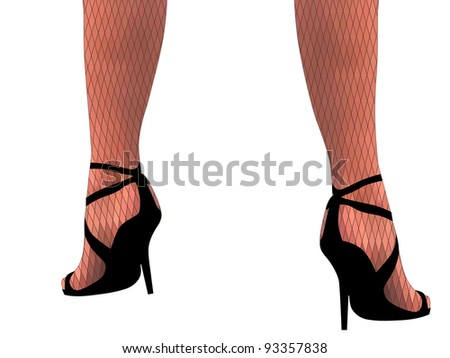 37ea0853e9a Royalty-free stock vector images ID  93357838. Vector illustration woman  legs in heels and stockings isolated on white(without gradient). - Vector