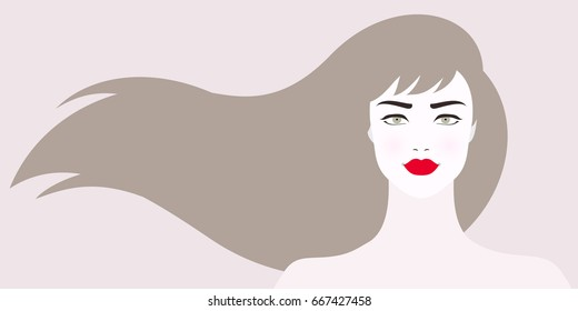 Vector illustration of woman with long light brown hair