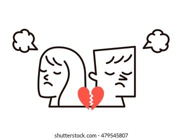 Vector illustration - woman, man and broken heart