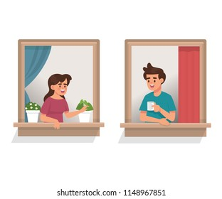 vector illustration woman and man talk to each other in window apartment, neighborhood people