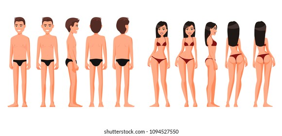 Vector illustration of woman  and man in underwear.Vector cartoon realistic people illustration. Flat young people. Front view , Side view, Back side view , Isometric view. Slim girl. Thin guy.