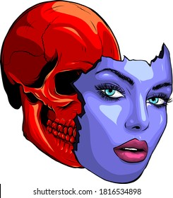 Vector illustration of a woman from the neck up, made up for Dia de los Muertos, Day of the Dead.