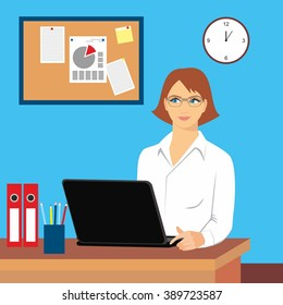 Vector illustration of a woman in the office workplace. Woman with laptop at the table. Business office desk with women officer