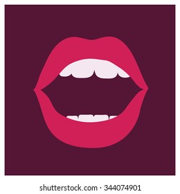 Vector illustration of woman open mouth on dark background