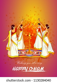 vector illustration of woman performing Thirvathirakali dance for Happy Onam festival of South India Kerala background