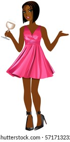 Vector Illustration of woman with pink dress and white wine.