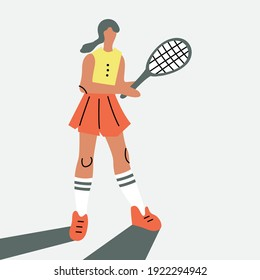 Vector illustration with woman playing tennis. Cartoon character.