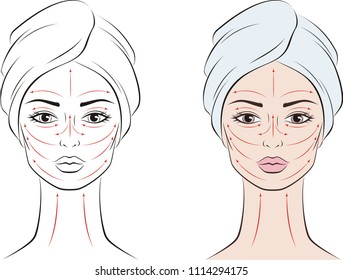 Vector illustration of a woman portrait in towel with massage lines. Female face