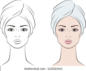 Vector illustration of a woman portrait in towel. Female face