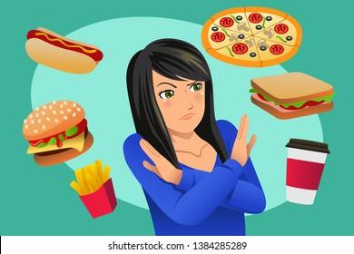 A vector illustration of Woman Refusing Fast Food Temptation
