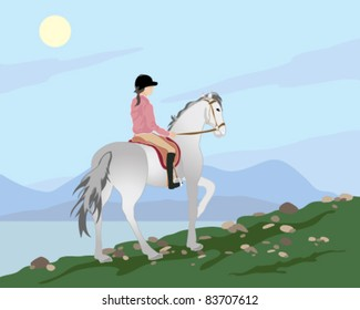 vector illustration of a woman riding a gray horse over a grassy hilltop with mountains and lake background in eps 10 format