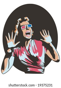 vector illustration of a woman screaming in a 3-D movie